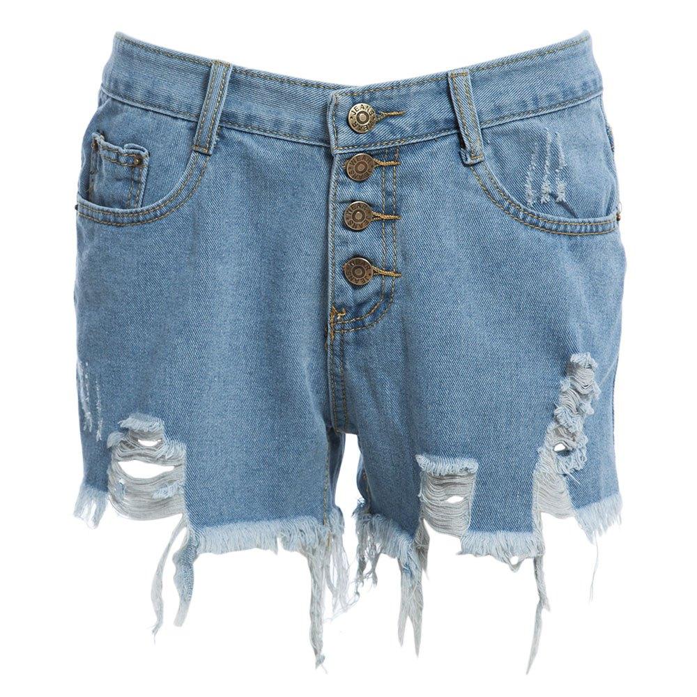 Summer 2016 Hole Tassel Single Breasted High Waist Black White Denim Shorts Women Jeans Short Femme Hotpants Sexy Ripped Shorts(China (Mainland))