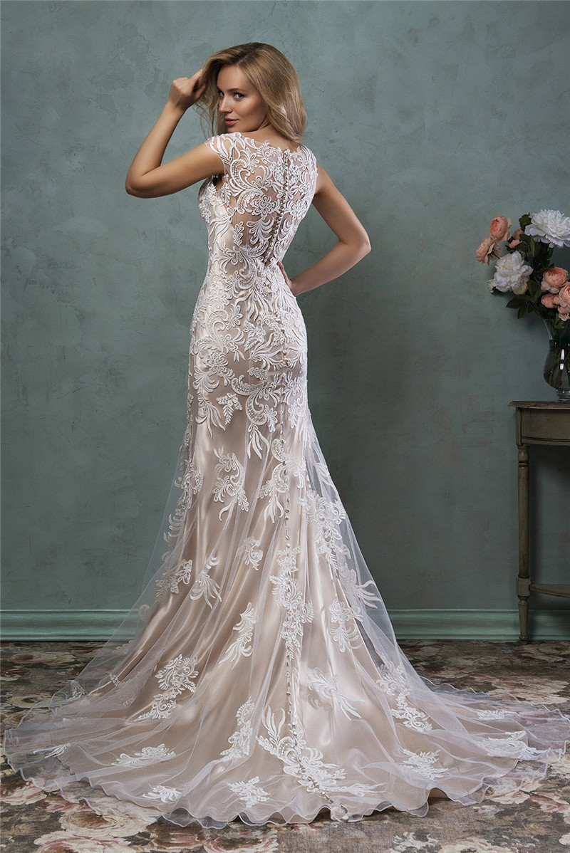 mermaid champagne wedding dress 2015 cap sleeve appliqued