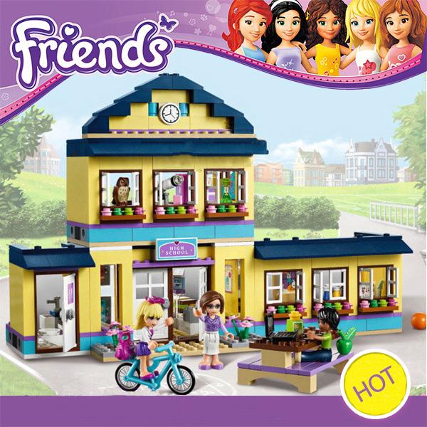 10166 BELA Girls Friends City School Building Block Minifigures 48Assemble Bricks Compatible Lego DIY Blocks Toys Gift