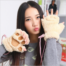 Buy cute fashion sexy cat paw glove womens office typing half finger warm gloves & winter mittens female women Plush gloves 2015 for $3.94 in AliExpress store
