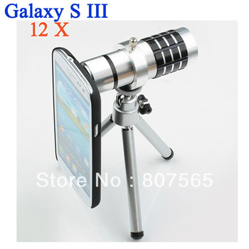 New Aluminum 12X Optical Zoom Telescope Lens camera +Mini tripod+Cover Case  for Samsung Galaxy S3 S III GT i9300