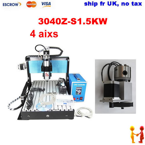 Ship from UK, no tax! 4 axis CNC engraving machine 3040Z-S1.5KW , 1500W 3040 CNC router with limit switch