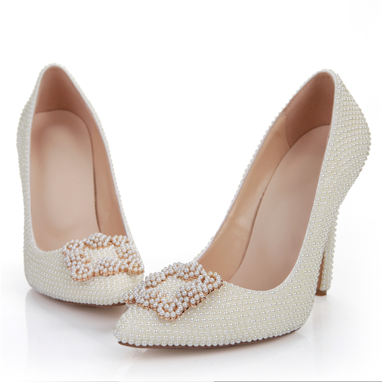 Buy 2015 new ivory color pearls wedding for Heels for wedding dress