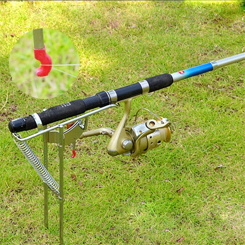 Automatic Stainless Steel Double Spring Tip-Up Hook Setter Practical Fishing Pole Bracket Rod Holder Stand Rack + Tracking No.(China (Mainland))