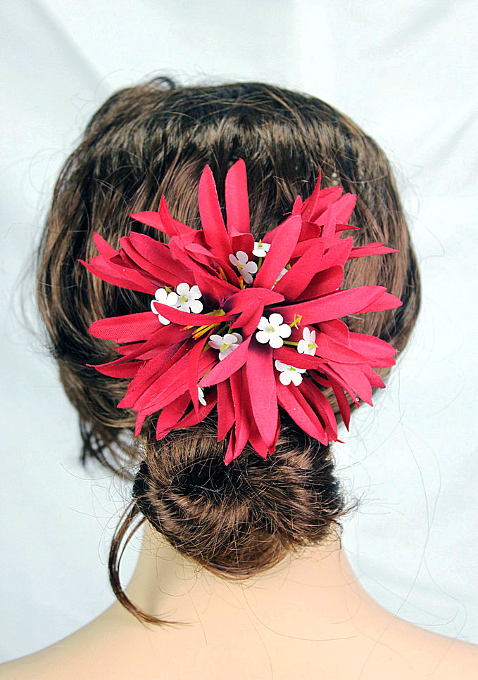 New FREE SHIPPING KL36199 50PCS/lot 10 colors 11x11cm Felt sipder lilies plastic hair clip Hawaii party ,tropical(China (Mainland))