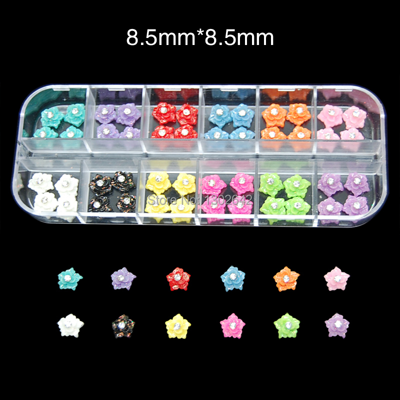 RB9 60pcs/set Resin Nail art sticker 12 Color Nail Accessories Flower Shape China Nail Wholesale(China (Mainland))