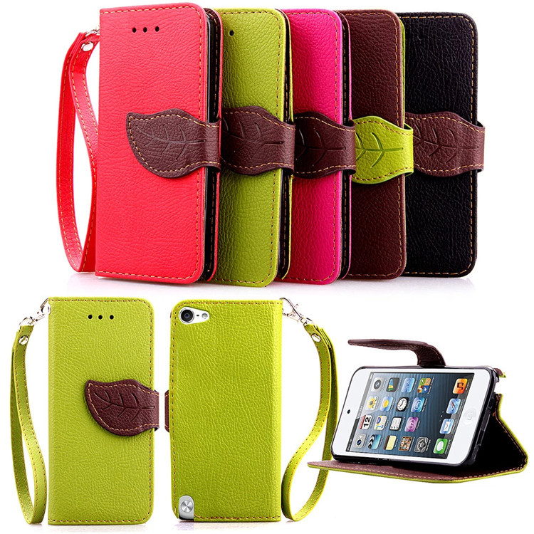 New Stylish Book PU Leather Wallet Flip Case Cover For Apple iPod Touch 5 Cell Phone Case Shell With Card Holder & Stand(China (Mainland))