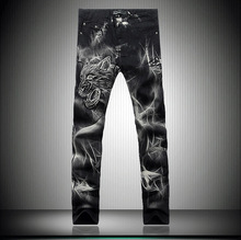 Painted Men's jeans printing new Korean Slim straight trousers Men's Fashion Wolf(China (Mainland))
