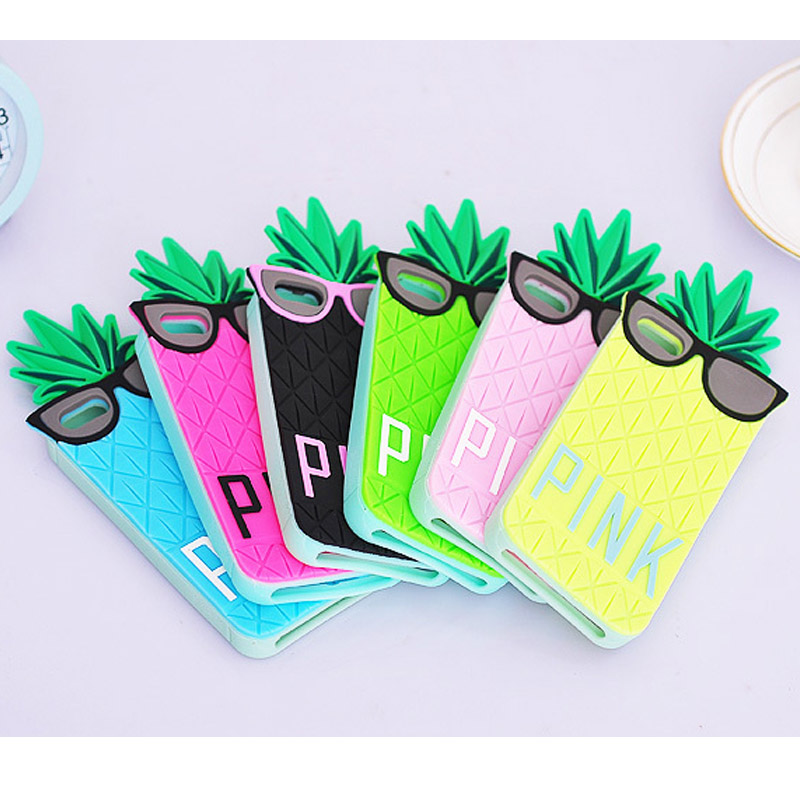 Candy Color PINK Case 3D Silicone Fashion Fruit Pineapple Star's Love Soft Cover for iPhone 5 5S 6 6S 6plus 6s plus(China (Mainland))