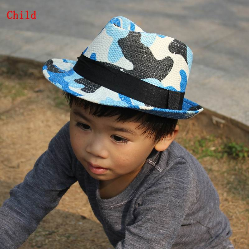 New Style Family Parent-Child Cap Hat Classic Camouflage Jungle Sunhat Hard Straw Shade Fedora Topper(China (Mainland))