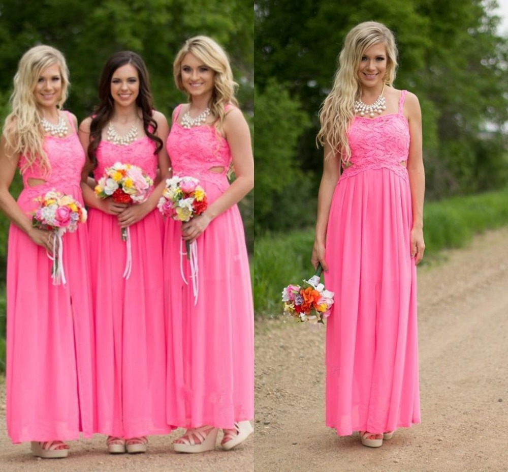 Online buy wholesale hot pink beach bridesmaid dresses from china country hot pink lace long chiffon bridesmaid dresses 2016 floor length cheap sexy spaghetti straps beach ombrellifo Choice Image