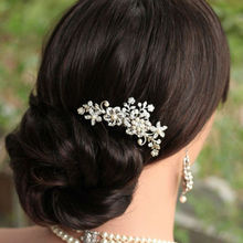 Bridal Wedding Flower Crystal Rhinestone Hair Clip Comb Pin Diamante Silver  CA1T