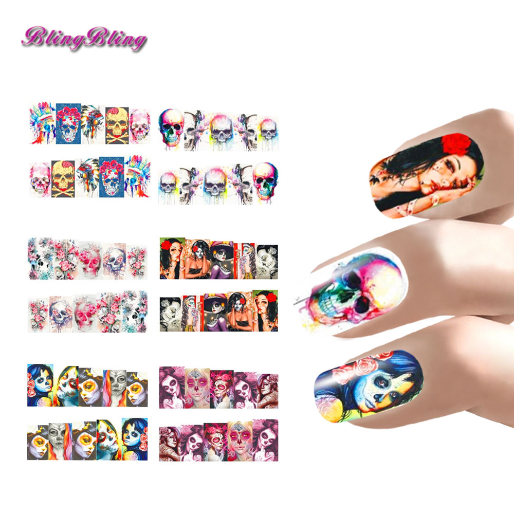6 sheet Nail Art Halloween Nail Sticker Sets Skull Style Water Decals Full Nail Wraps Decoration Nails Accessories Women(China (Mainland))