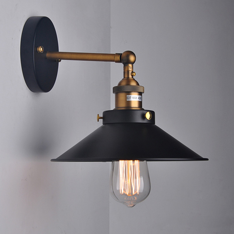 Bedside Wall Lamps : Retro Loft Vintage Industrial 1 Light Black Lampshade Wall Light Bedside wall lamps E27 110V ...