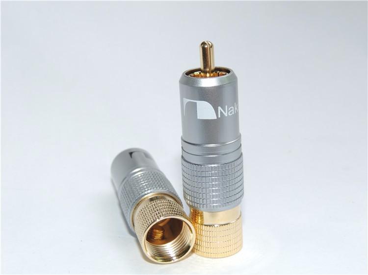 3Pcs/Lot High quality NAKAMICHI RCA Plug Locking Non solder plug connector Gold Plated(China (Mainland))