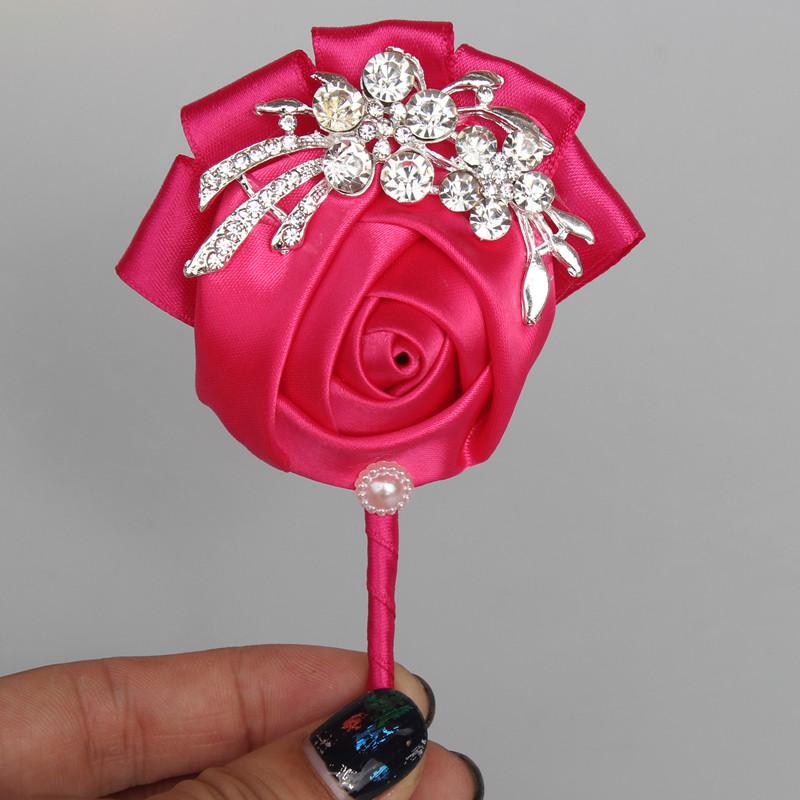 2 Piece Best Hot Pink Satin wedding corsage for groom boutonniere DIY Rhinestone fabric roses groom corsage wedding decoration(China (Mainland))
