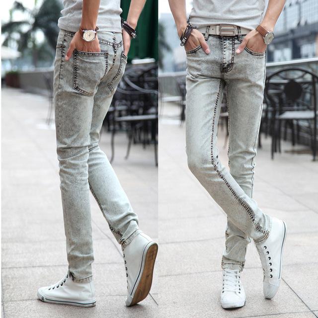 Мужчины белый джинсы приталенный корейский приливные плотные джинсы
