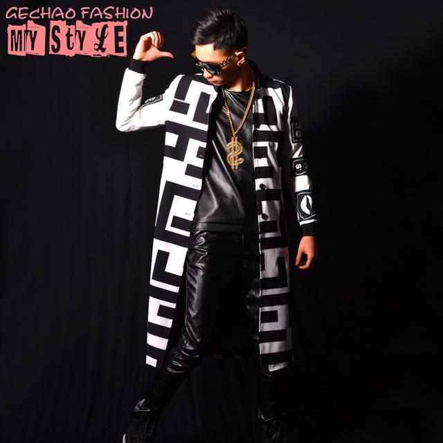 2016 новый белый черный блок длинный жакет пальто мужчины пром танцор певец производительности шоу одежда на открытом воздухе Тонкий износ
