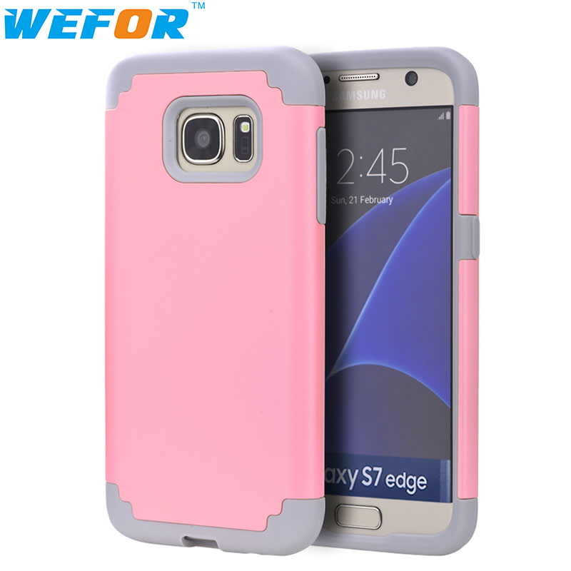 Cell Phone Cases Cover For Samsung Galaxy S7 Edge Cover Slim Hybrid Dual Layer Shockproof Silicone Case Cover for Galaxy S7 Edge(China (Mainland))