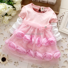 little girl bridesmaid dresses flower girl pink rose dress autumn baby girls princess dress kids cute fashion party dresses(China (Mainland))