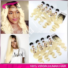 Ombre brazilian hair with closure 4pcs with closure 613 blonde virgin hair with closure 1b 613 ombre with closure free shipping