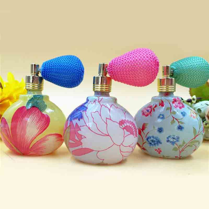35ml Triangle Empty Glass Perfume Bottle Color Flower Gasbag Perfume Atomizer Refillable Scented Fragrance Bottle Makeup 10pcs(China (Mainland))