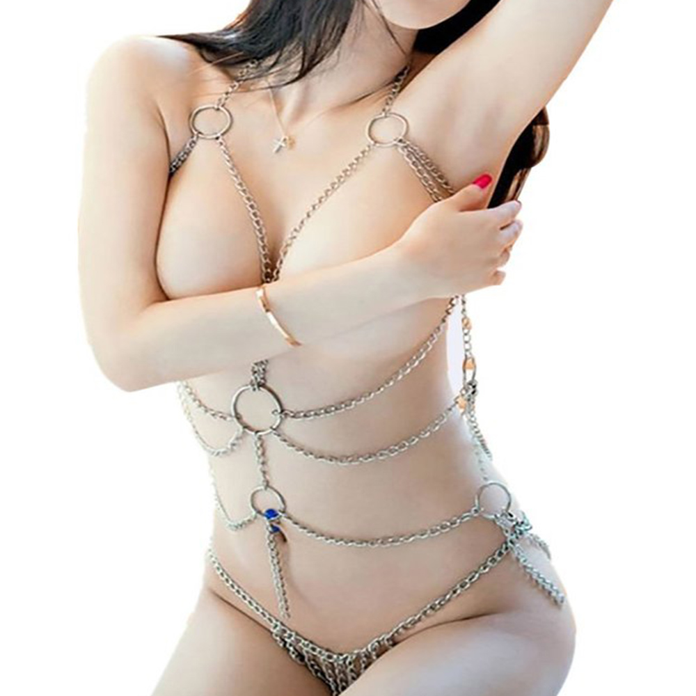 Enticing Women's Sexy Lingerie Chain Set Exotic Woman Breast Bra Bondage Costumes Metal Chain(China (Mainland))