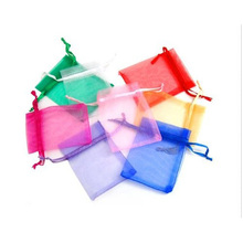 100pcs/lot Drawable Colorful Small Organza Bags 7x9cm Favor Wedding Christmas Gift Bag Jewelry Packaging Bags & Pouches(China (Mainland))