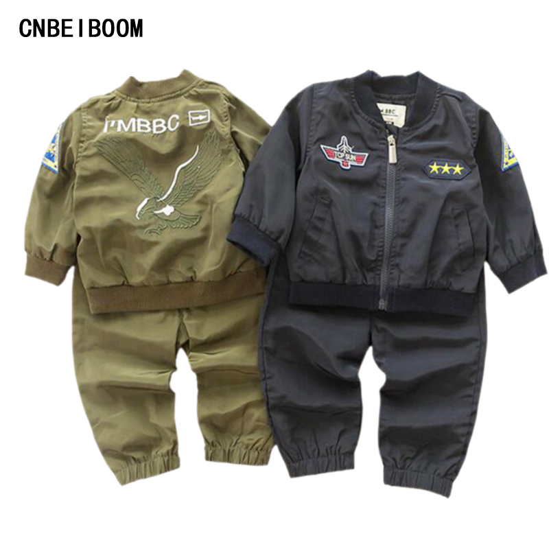 2016 New Autumn Kids Boy Tracksuit Clothing Set Sports Suit Infant 6M-4T Embroidered Eagle Soccer Jersey Boys Military Uniform(China (Mainland))