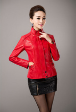 2016 Spring Autumn Women Plus Size PU Leather Clothing Outerwear Female Slim Leather Coat Fashion Ladies Faux Leather Jacket(China (Mainland))