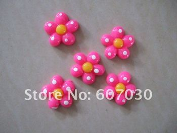 50pcs Pink  Resin SunFlower flatback Fit For Kid's Ring, phone decoration DIY decoration 18x18mm