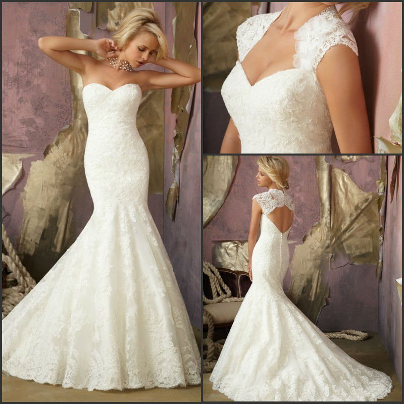 Magnificent floor length white lace applique open back for White fishtail wedding dress