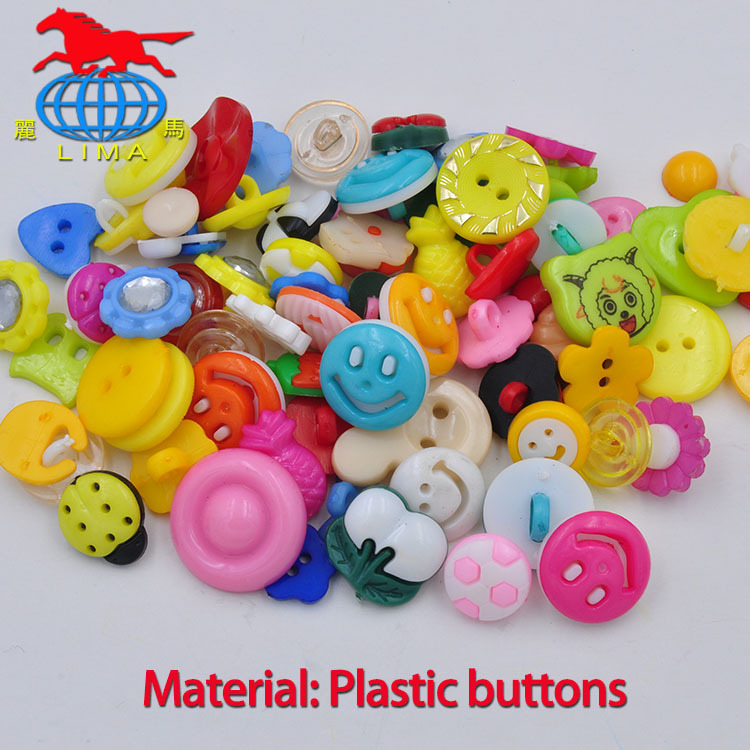 100PCS mixed color MIXED PATTERN plastic cartoons cloth buttons jewelry accessory(China (Mainland))