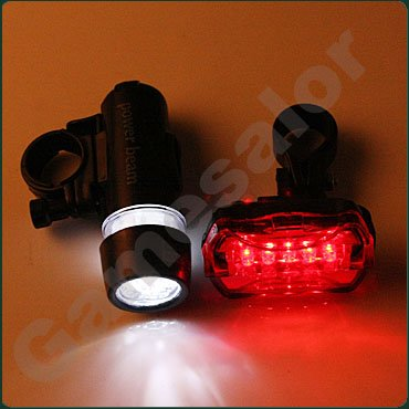 free shipping Waterproof LED Bike Bicycle Head Light+ Rear Flashlight #9740(China (Mainland))