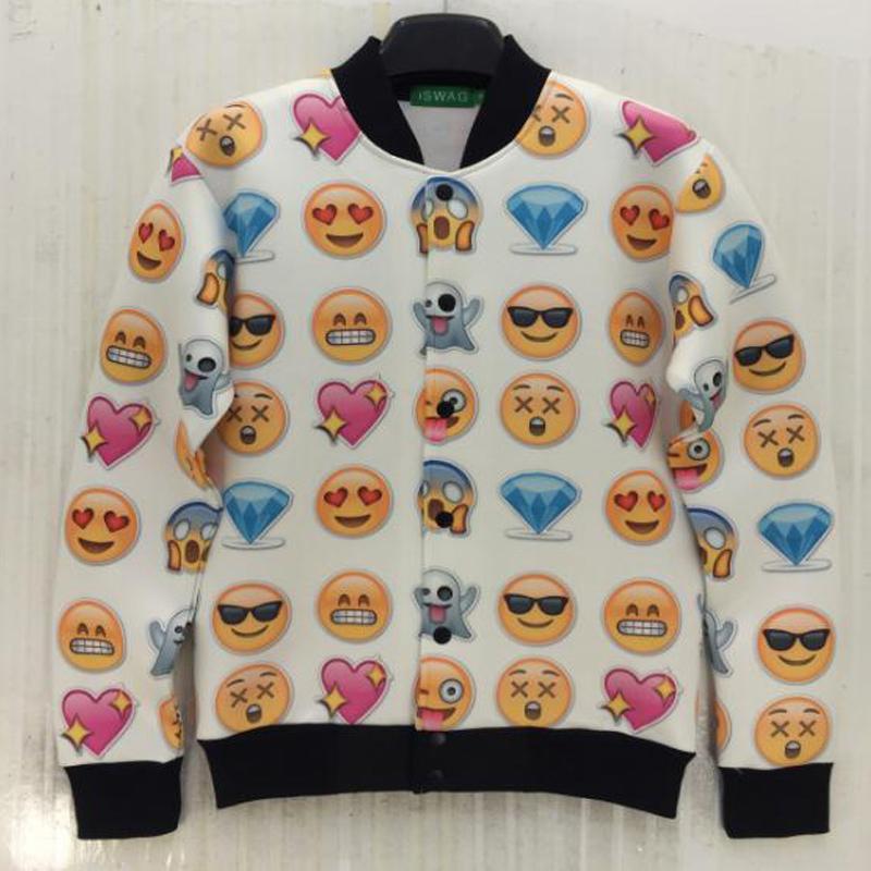 Harajuku 3D Print Coat Cartoon emoji expression Funny Sweatshirts women/men casual pullover hoodies Jacket Tops Baseball uniform(China (Mainland))