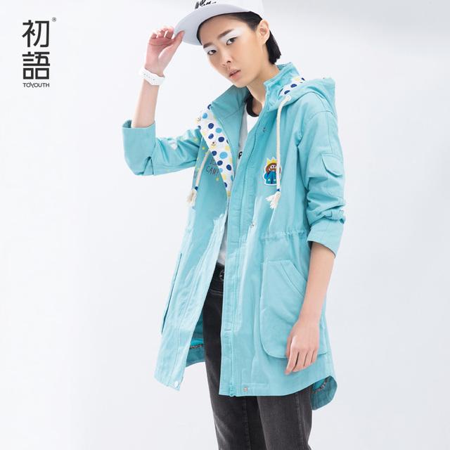 Toyouth Дамской одежды Пальто Весной Новый Средний Стиль Цветовой Контраст Печати ...