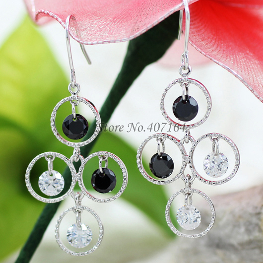 classic 18K white gold plated earrings black big drop party - SunFlower Trade Co.,Ltd store