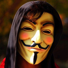 V for Vendetta Mask Guy Fawkes Anonymous Halloween Party Masks Fancy Dress Costume (White/Yellow) 2 Colors For April Fool's Day(China (Mainland))