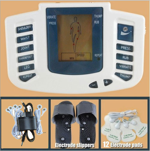 JR-309 Hot new Electrical Stimulator Full Body Relax Muscle Therapy Massager,Pulse tens Acupuncture with therapy slipper+12 pads(China (Mainland))
