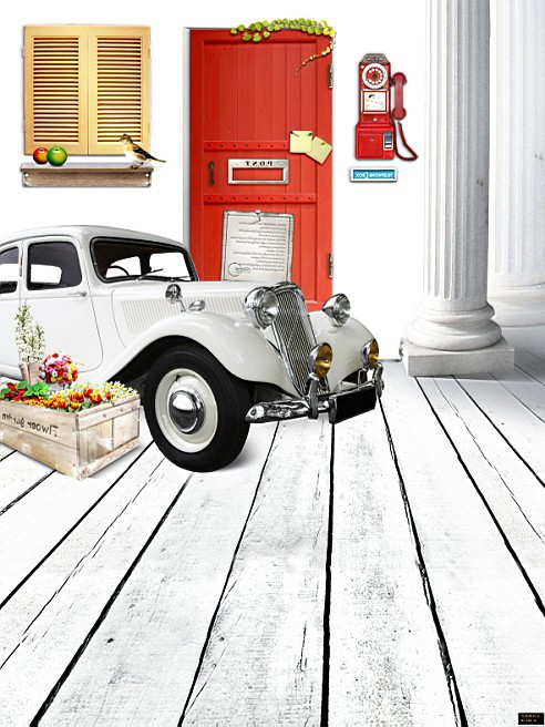 Фотография 600CM*300CM(20ft*10ft) Child Baby Wooden Floor Old car in front of house newborn photography background 1373