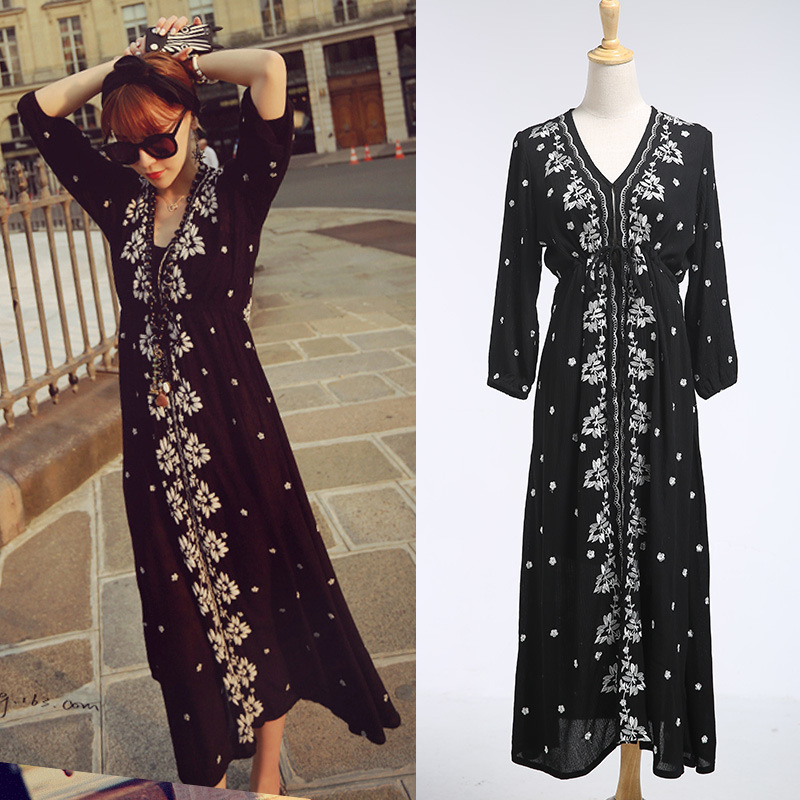 High Quality New 2016 Runway summer spring women Maxi Dress Elegant V-neck 3/4 sleeve Vintage Floral embroidery Long Dress(China (Mainland))