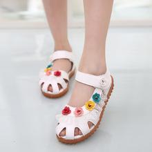 2016 Summer Girls Sandals Lace Flower Kids Shoes For Girl Sandalia Female Roman Soft Bottom Tendon Slip Children Leather Sandals(China (Mainland))
