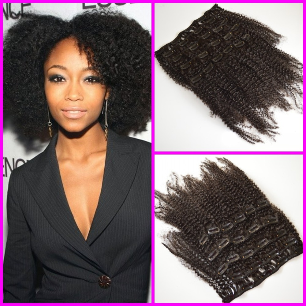 10A VlRGIN Brazilian afro kinky curly hair clip in hair extensions for black woman<br><br>Aliexpress
