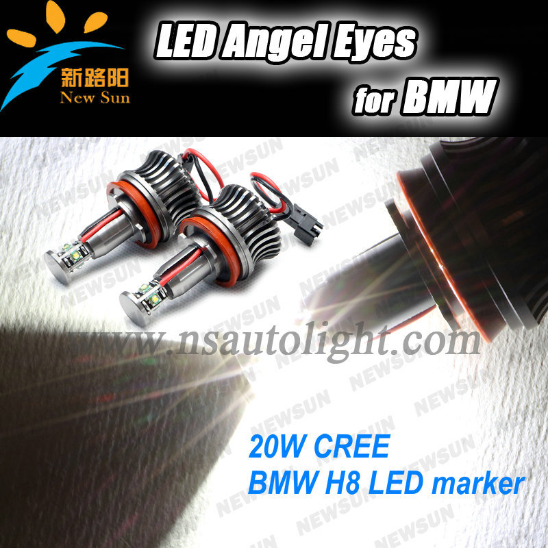 Multicolorful led angel eyes H8 cree chip 20w for BMW e60 e61 e63 e90 e91 e92 e82 e87 F01 Z4 car headlight led angel eye lamp<br><br>Aliexpress