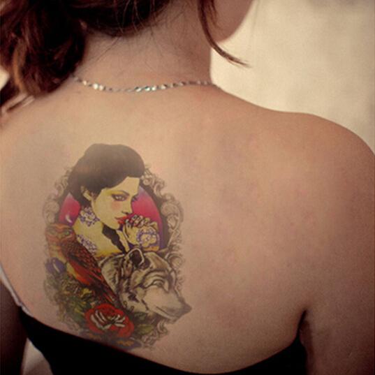 Sexy Men Women Beauty Wolf Print Temporary Tatto Waterproof Tattoo Arm Sticker Fake Arm Sleeve Body Tattoo Shoulder Tattoos(China (Mainland))