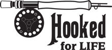 Hooked For Life Fly Rod Trout Fishing Car Truck Window Decal Sticker free shipping(China (Mainland))