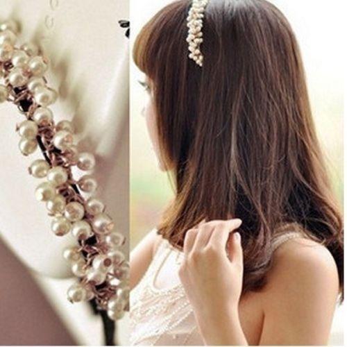 Korean Sweet Women Girl Charm Pearl Hair Hoop Band Elegant Headband Hairpin Top(China (Mainland))