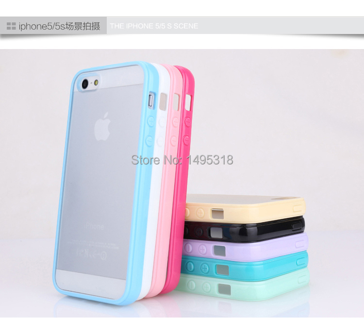 For iphone 5 5S 4 4s Cute candy Color Loving New Style cell phone skin case matte back covers TPU Silicone Frame(China (Mainland))