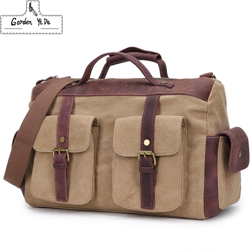 Vintage military Canvas Leather men travel bags Carry on Luggage bags Men Duffel bags travel tote large weekend Bag Overnight(China (Mainland))