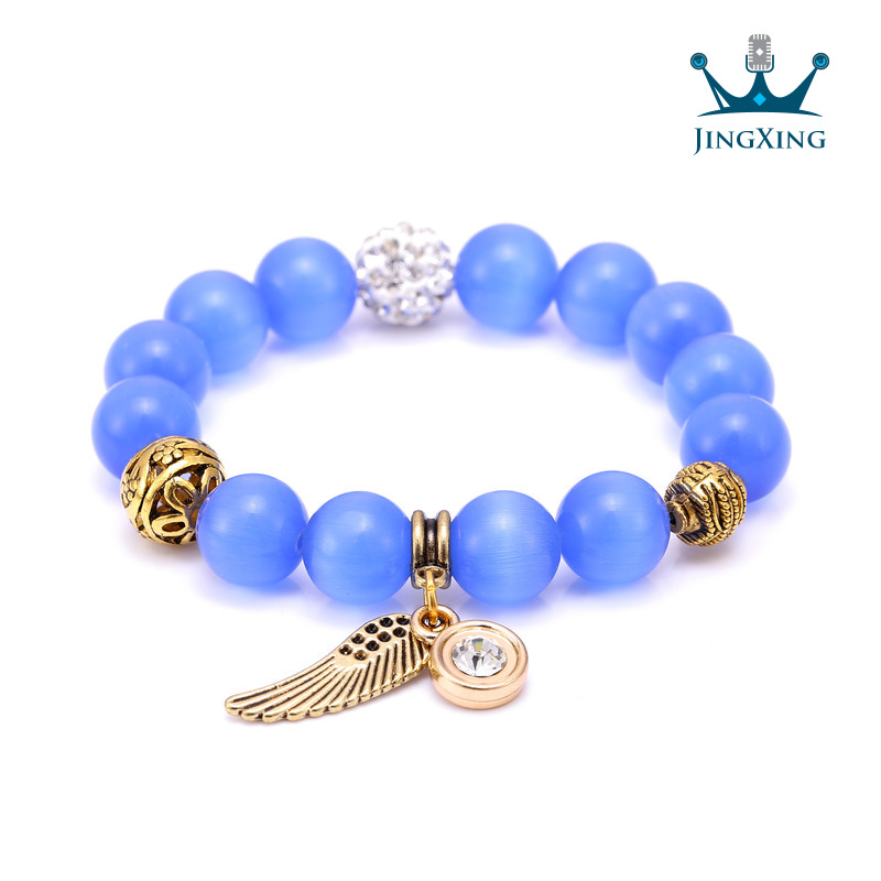 Angel wings bracelet for women with nature stone and disco ball beaded bracelet Summer 2016 Fashion fine charming jewelry Gift(China (Mainland))
